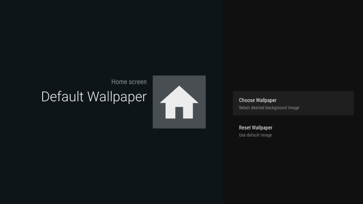 Select Choose Wallpaper for leanback launcher