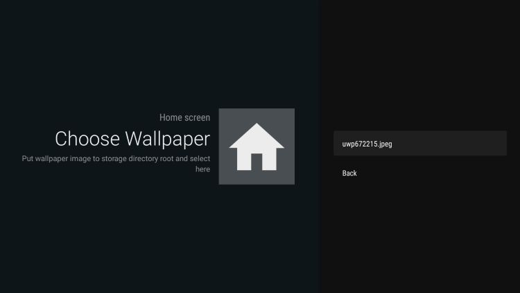You should notice your wallpaper image file appear. Click that option to add on leanback launcher