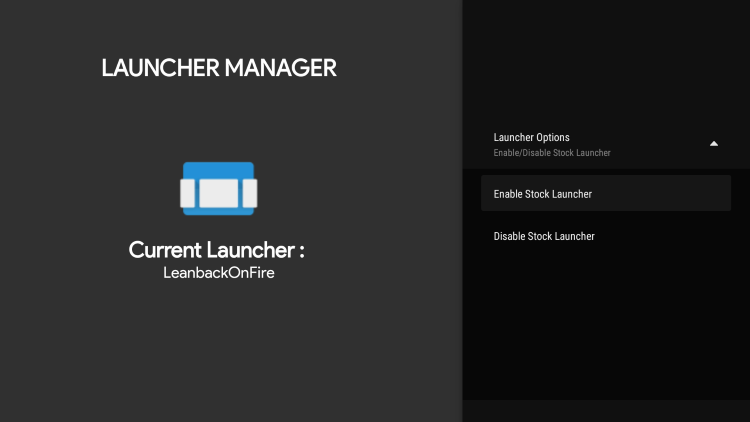 Choose Enable Stock Launcher.