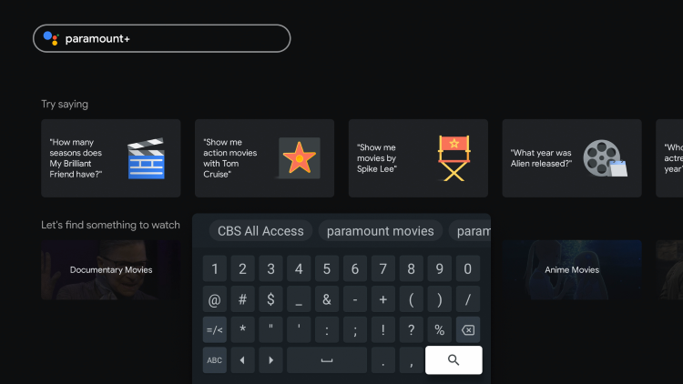 """Type in """"paramount+"""" and click the search icon."""