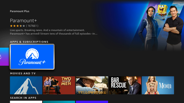 Choose Paramount+ under Apps & Subscriptions.