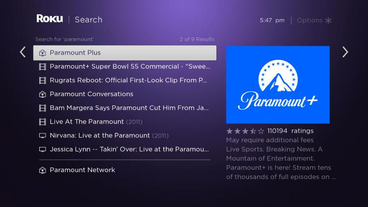 Click Paramount Plus.