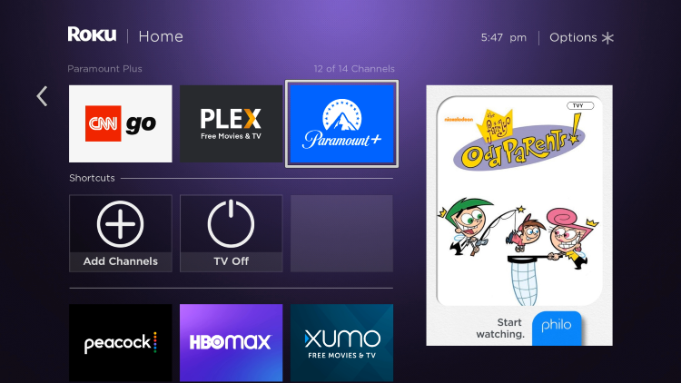 Locate and select the Paramount+ app from your Home screen.