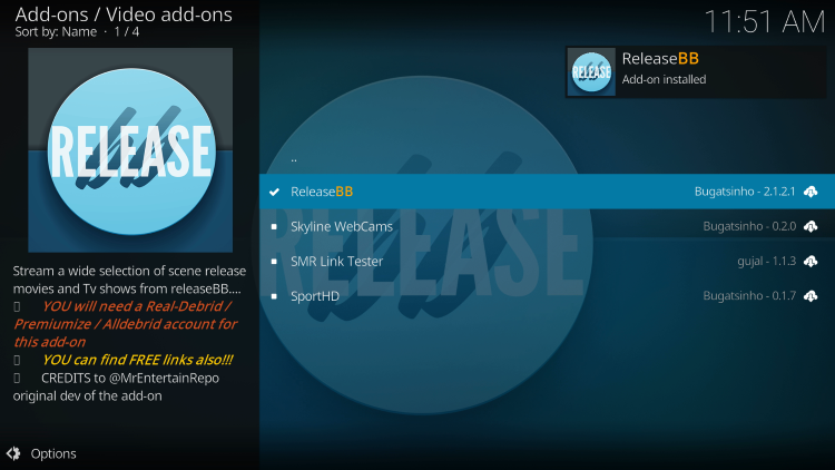 Wait for ReleaseBB kodi Add-on installed message to appear