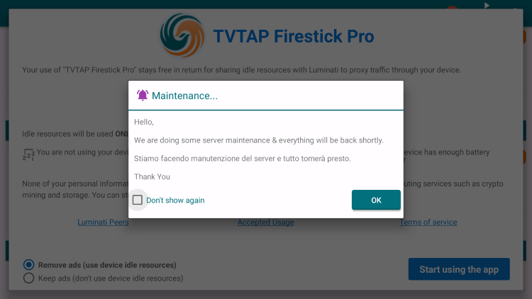 Launch the TVTap application. If prompted with the following message, choose OK.
