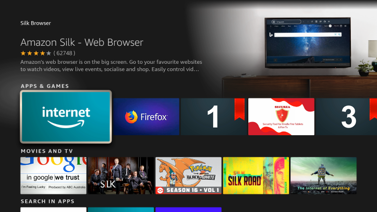 Click the Amazon Silk Web Browser under Apps & Games.