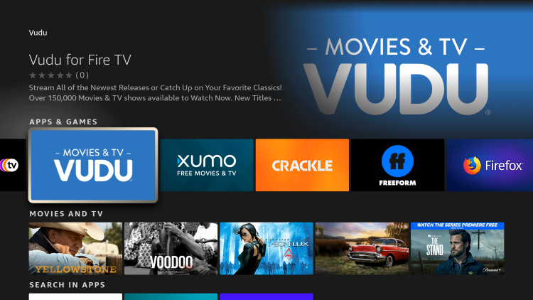 Click the Vudu for Fire TV app under Apps & Games.