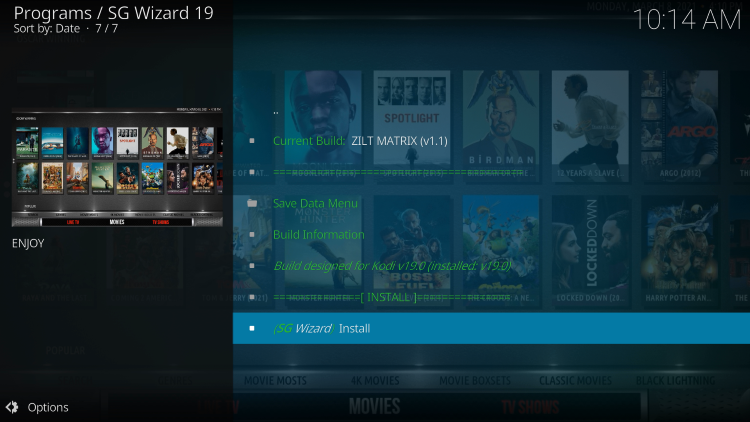 Click Install zilt kodi build