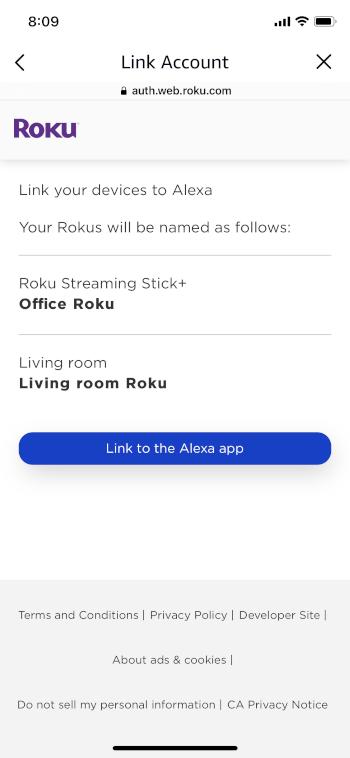 click link to the alexa app