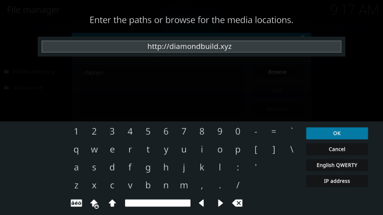 Type the following URL exactly how it is listed here to install diamond shadow kodi build