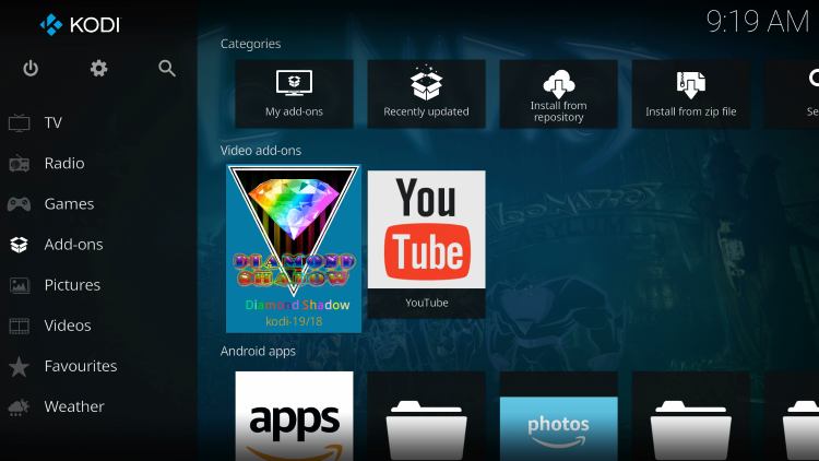 Return back to the home screen of Kodi and choose Diamond Shadow within the Add-ons category