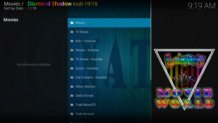 That's it! You have installed the Diamond Shadow Kodi addon on your device