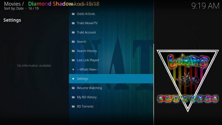 Launch the Diamond Shadow Kodi Addon and select the Settings option.
