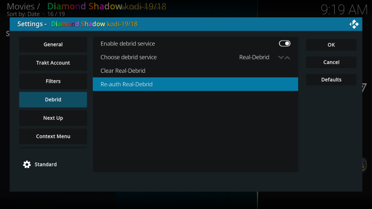 Within the Debrid menu on the left, choose Re-auth Real-Debrid.