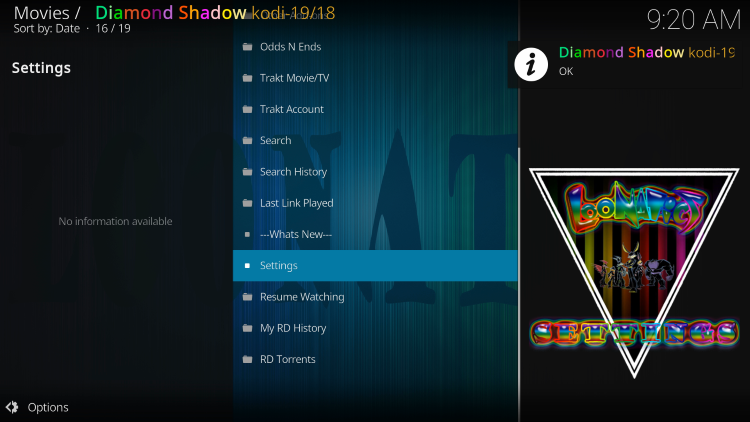 That's it! You should notice an OK message in the top right after integrating Real-Debrid within the Diamond Shadow Kodi Addon.