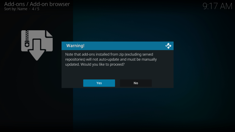 When prompted with the following message, click Yes for diamond shadow kodi addon