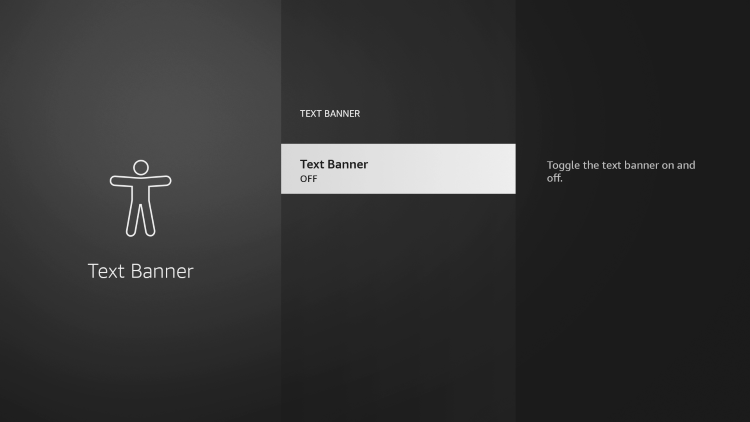 Click Text Banner again to fix grey app icons on firestick