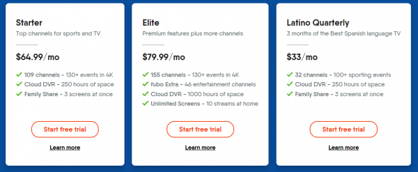 fubo free trial subscription options