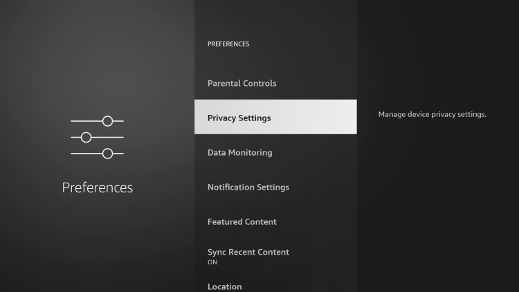 click privacy settings