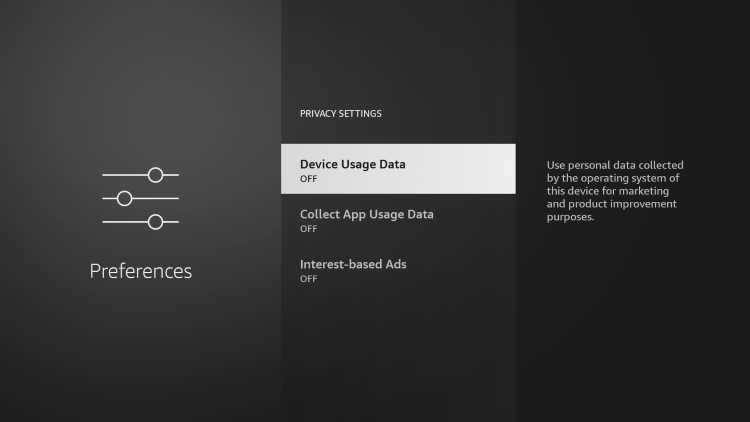 turn off Device Usage Data, Collect App Usage Data, and Interest-based ads.