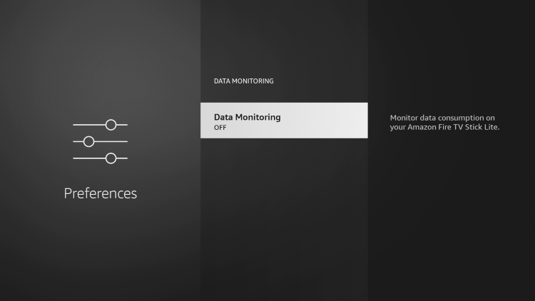 Click Data Monitoring again to turn this setting off.