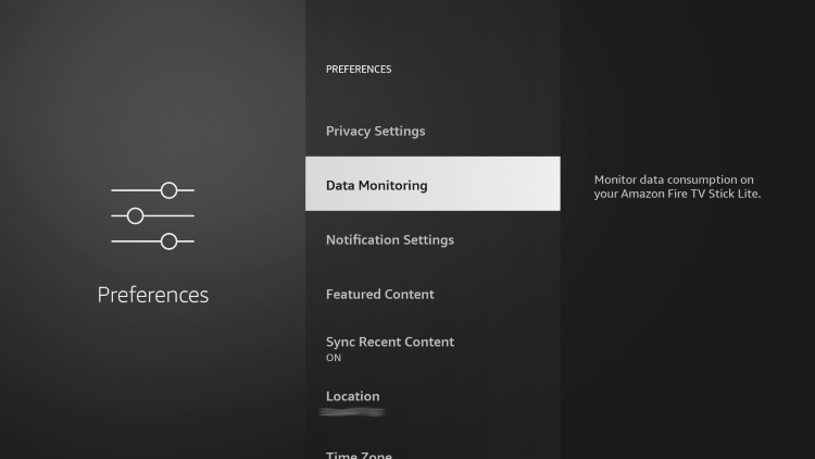 Click the back button and choose Data Monitoring to help block ads on firestick