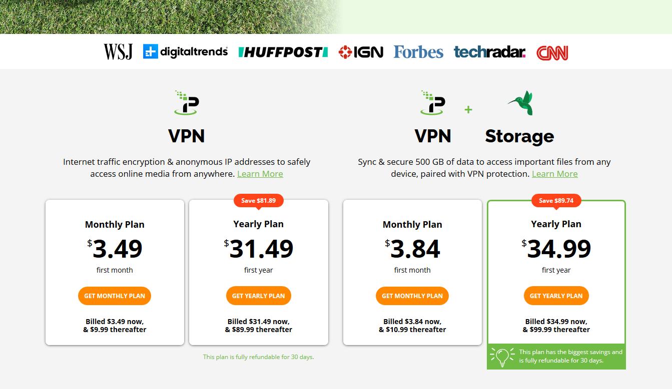 IPVanish VPN Checkout Page