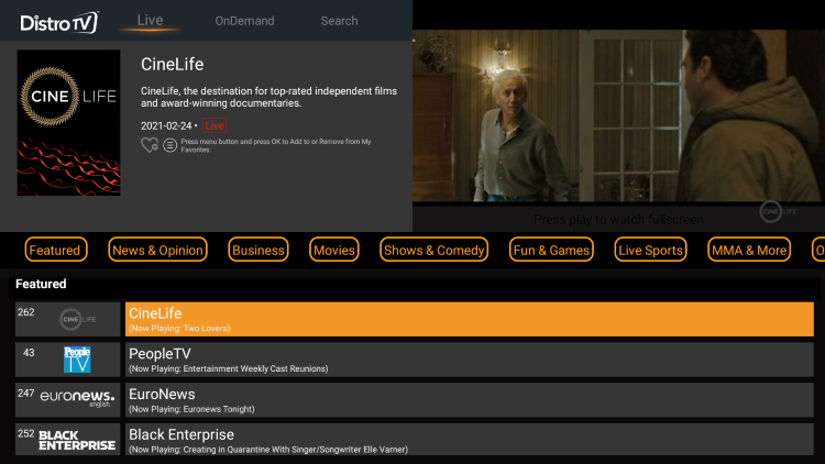 distrotv is a newer free iptv application