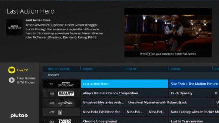 pluto tv live tv app