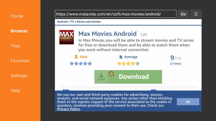 Scroll down and click Download max movies apk