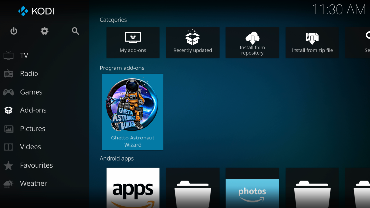 Return to the Kodi home-screen and under add-ons choose Ghetto Astronaut Wizard