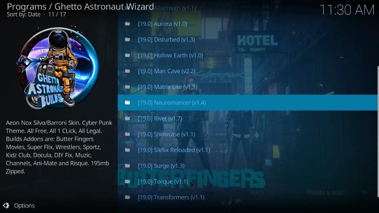 Choose Neuromancer Kodi Build