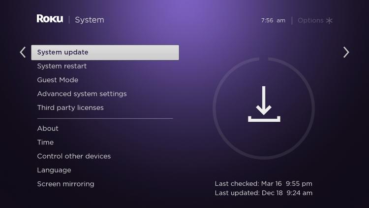 click system update