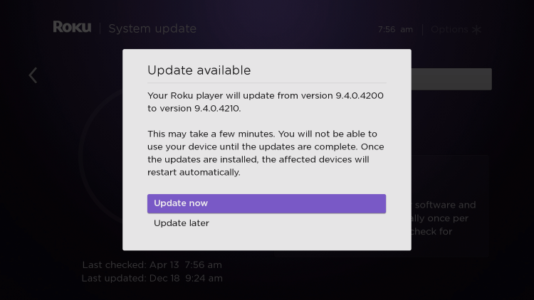 choose update now