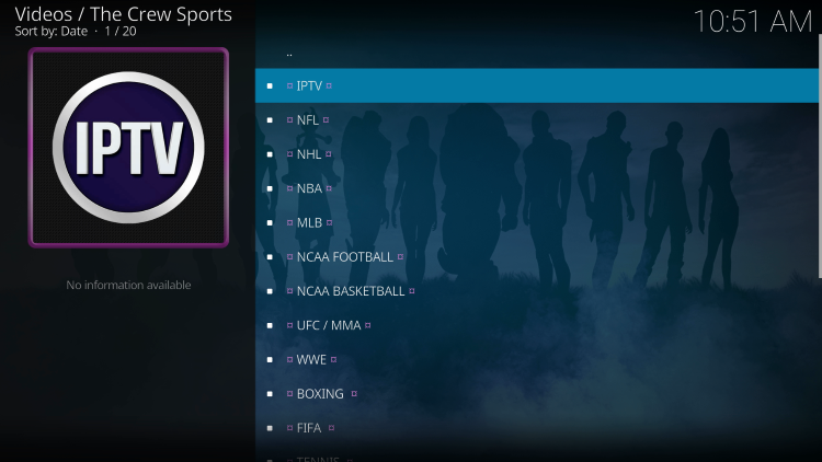 That's it! You have installed The Crew Sports Kodi addon on your device