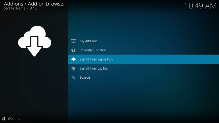Click Install from repository to access the crew sports kodi addon