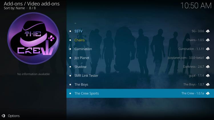 Select The Crew Sports kodi addon