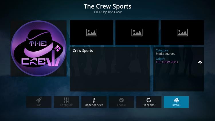 Click Install the crew sports kodi addon