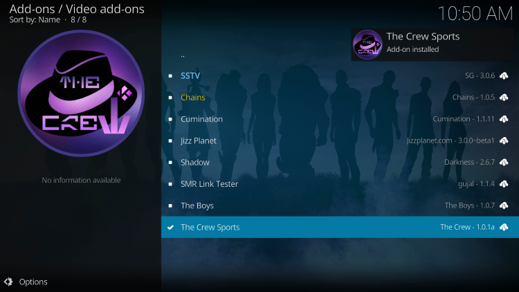 Wait for the Crew Sports kodi Add-on installed message to appear