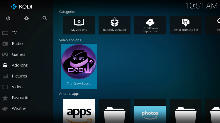 Return back to the home screen of Kodi and choose The Crew Sports kodi addon within the Add-ons category