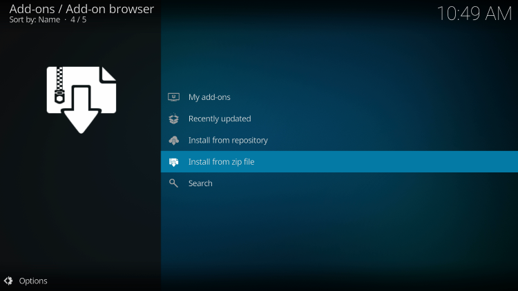 click install from zip file to install the crew sports kodi addon