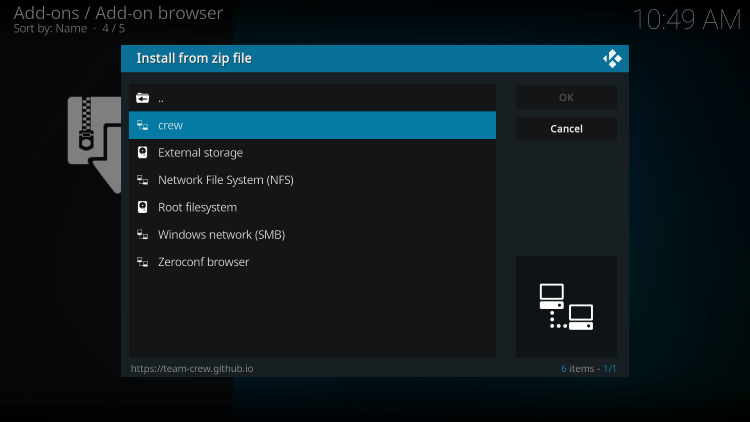 Choose crew sports kodi addon or another name you assigned the media source in the previous step