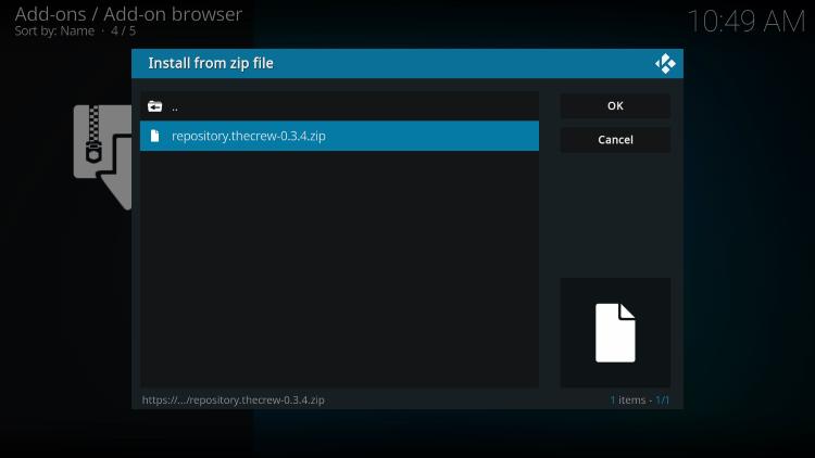 Click the zip file URL for installing the crew sports kodi addon