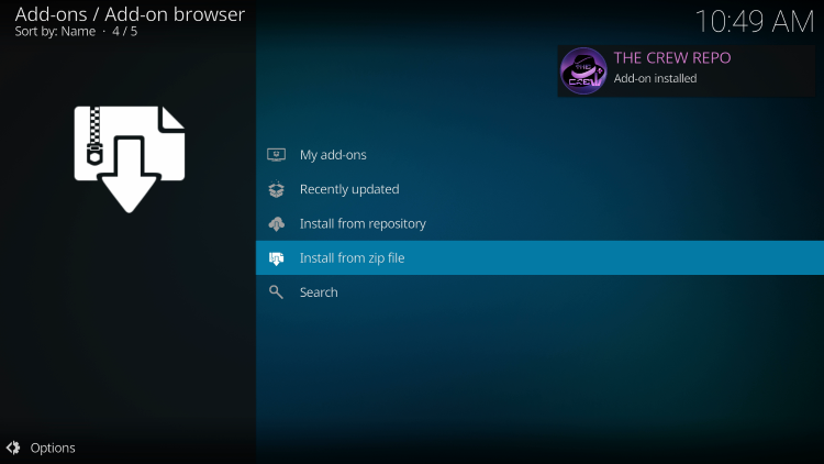 """Wait for the """"The Crew sports kodi Repo Add-on installed"""" message to appear"""