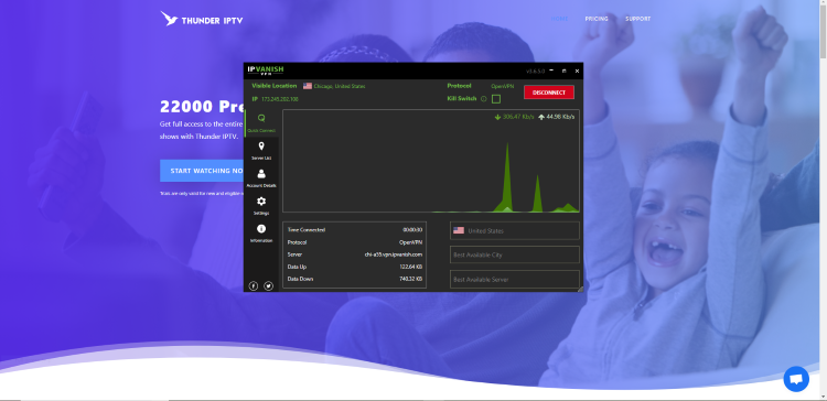 The best way to do this is with a secure VPN that will secure your identity and anonymity when using IPTV services like this.