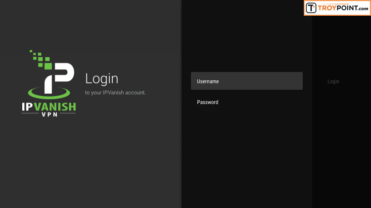 Input your IPVanish username and password and then click Login.