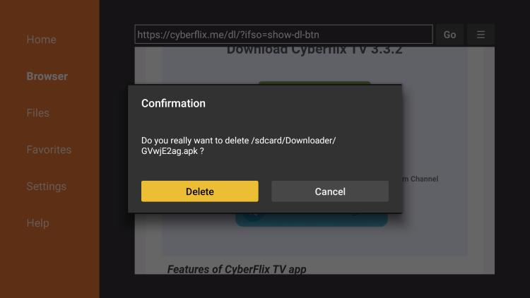 click delete again