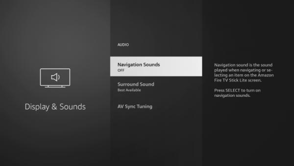 hidden firestick setting turn off navigation sounds