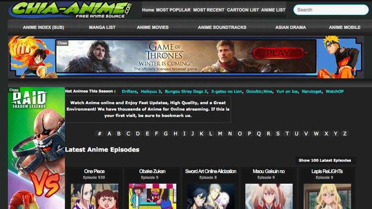 site web anime chia