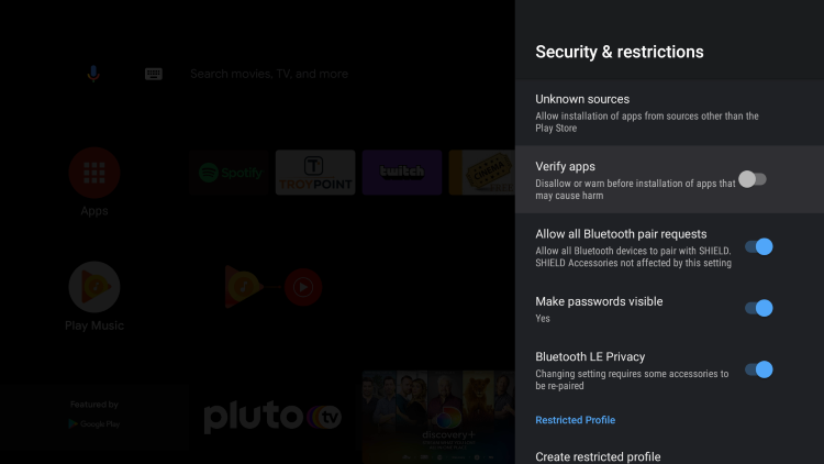 That's it, you can now install any 3rd party application since play protect has been disabled on your Android TV device.